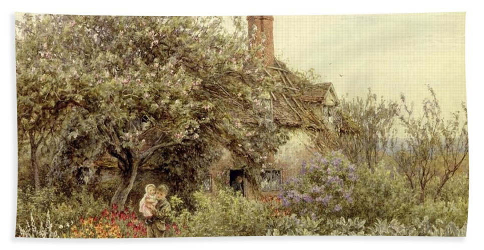 Cottage; Mother And Child; Rural Scene; Country; Countryside; Home; House; Path; Garden; Wildflowers; Irises; Picturesque; Idyllic; Daughter; Female Beach Towel featuring the painting Near Hambledon by Helen Allingham