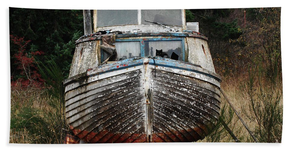 Fishing Boats Beach Towel featuring the photograph Needing Work by Bob Christopher