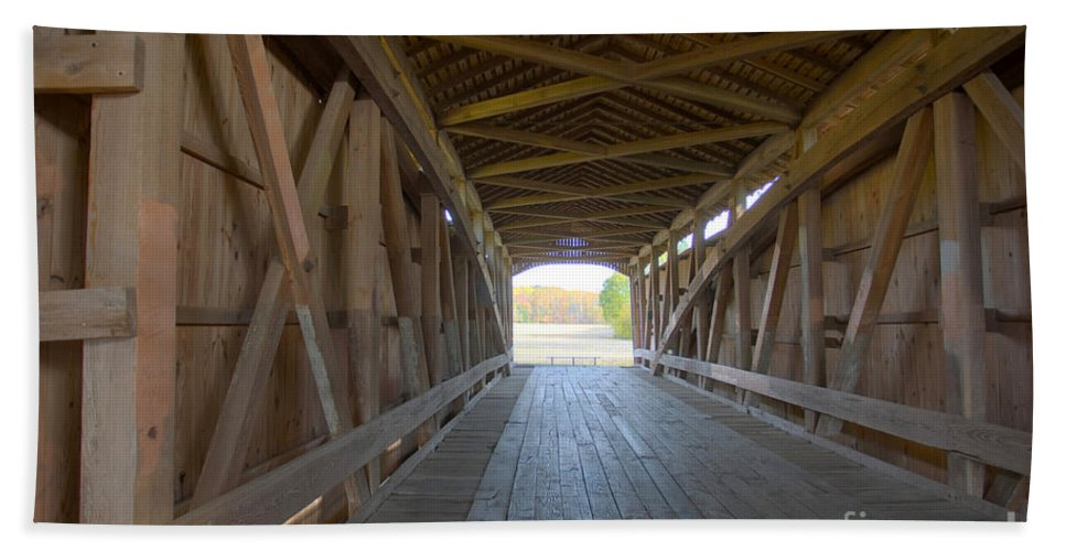 Americana Beach Towel featuring the photograph Neet Covered Bridge Interior by Alan Look