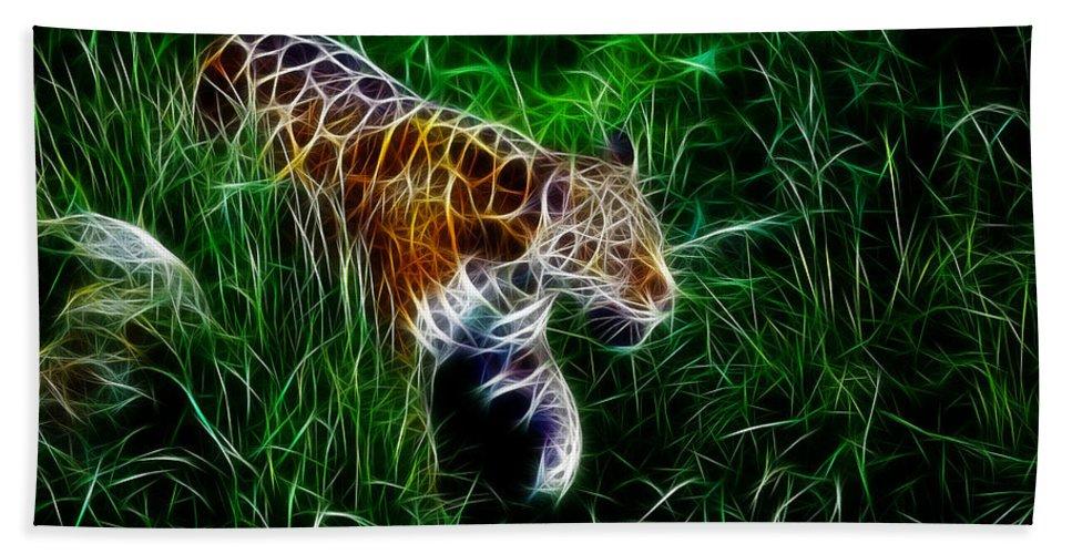 Tiger Beach Towel featuring the digital art Neon Tiger by Steve K