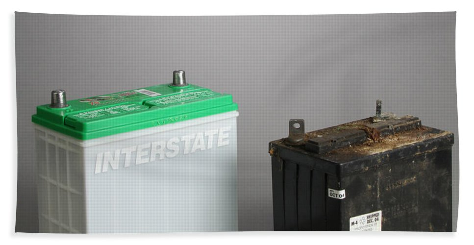 Automotive Battery Beach Towel featuring the photograph New & Old Automotive Battery by Photo Researchers