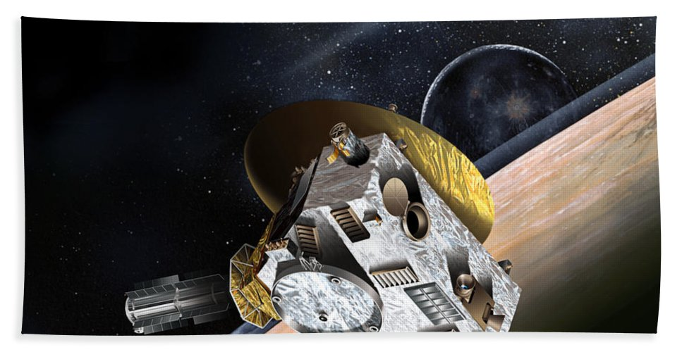 2015 Beach Towel featuring the photograph New Horizons Spacecraft At Pluto by NASA/Johns Hopkins University APL/Southwest Research Institute