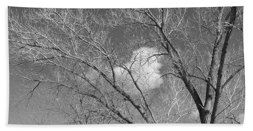 Landscape Beach Towel featuring the photograph New Mexico Series - A Cloud Behind Black And White by Kathleen Grace