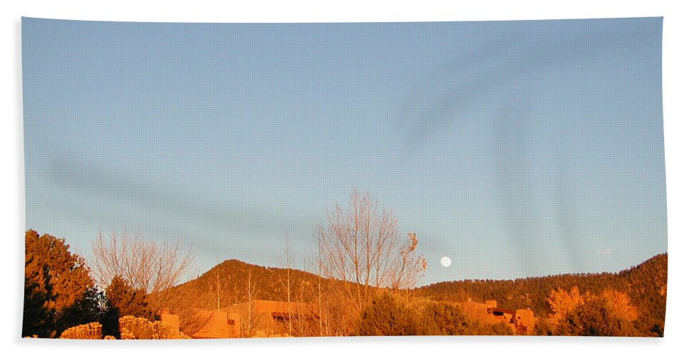 Landscape Beach Towel featuring the photograph New Mexico Series - Moonrise Autumn by Kathleen Grace