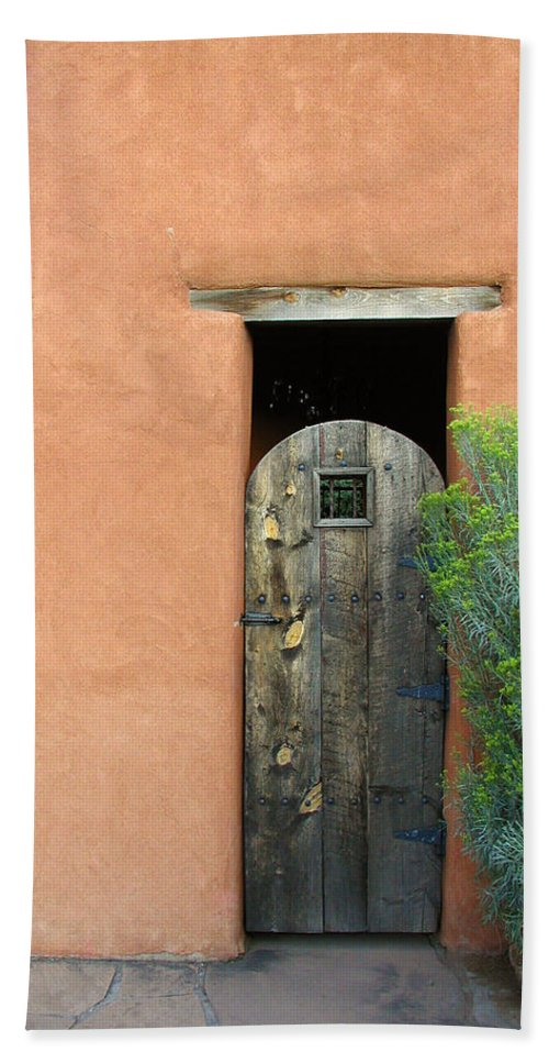 Southwestern Beach Towel featuring the photograph New Mexico Series - Santa Fe Doorway by Kathleen Grace