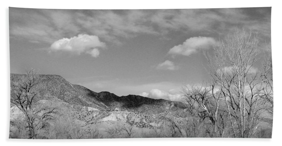 Landscape Beach Towel featuring the photograph New Mexico Series - Winter Desert Beauty Black And White by Kathleen Grace