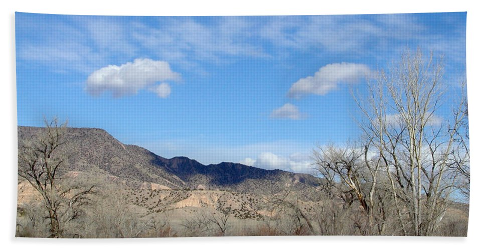 Landscape Beach Towel featuring the photograph New Mexico Series - Winter Desert Beauty by Kathleen Grace