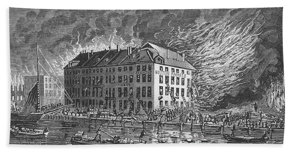 1835 Beach Towel featuring the photograph New York: Fire Of 1835 by Granger