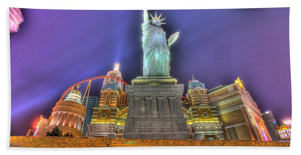 New York Beach Towel featuring the photograph New York In Las Vegas by Nicholas Grunas
