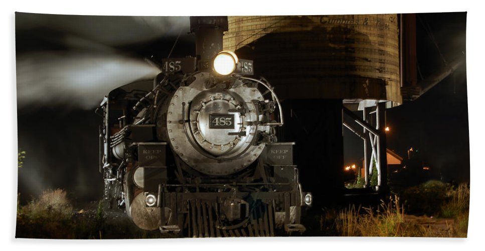 Steam Train Photographs Beach Towel featuring the photograph Night At The Water Tower by Ken Smith