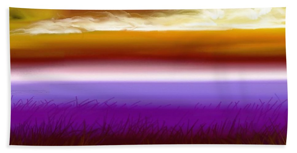 Sunset Beach Towel featuring the digital art Night Falls by Greg Moores