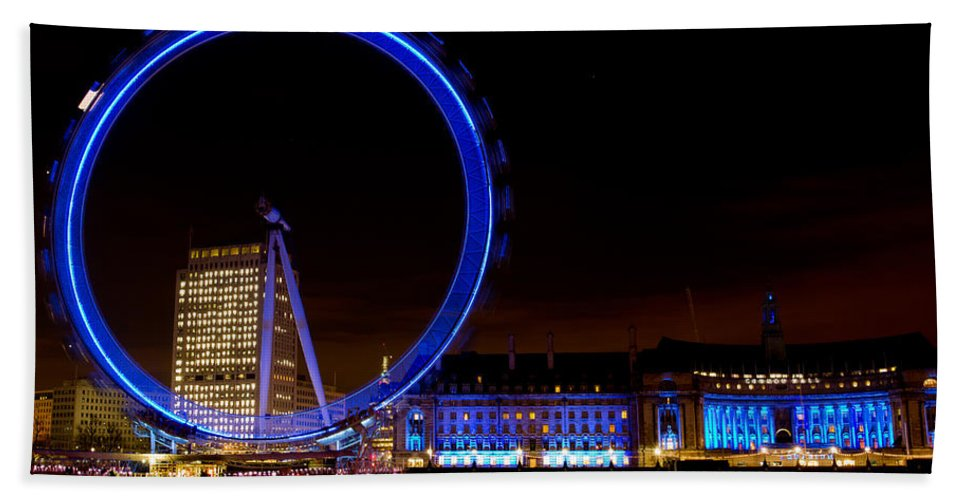 London Beach Towel featuring the photograph Night Image Of The London Eye And River Thames by David Pyatt
