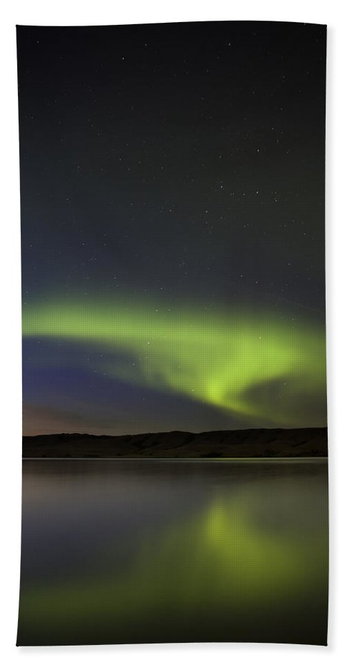 Sky Beach Towel featuring the photograph Night Shot Northern Lights by Mark Duffy