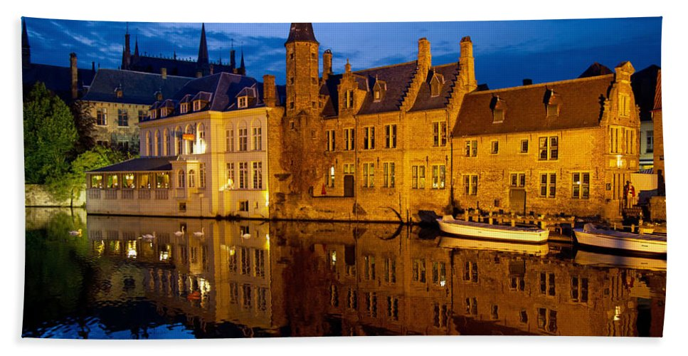 Europe Beach Towel featuring the photograph Nighttime Brugge by David Freuthal