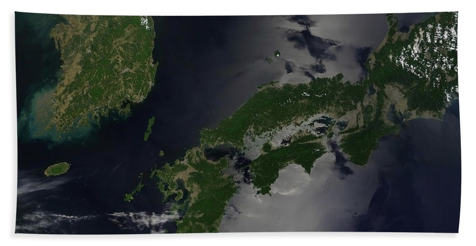 Color Image Beach Towel featuring the photograph North And South Korea, And The Japanese by Stocktrek Images
