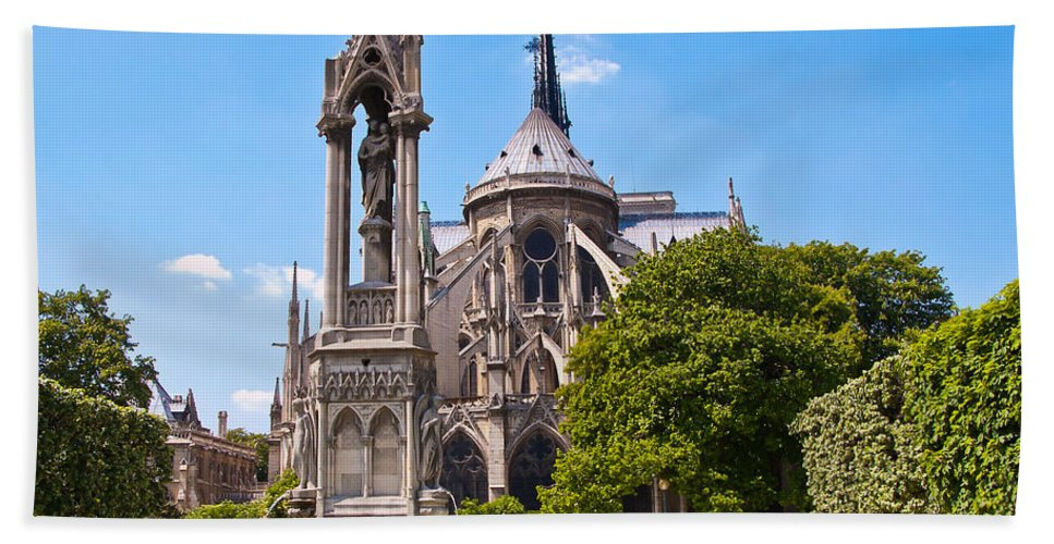France Beach Towel featuring the photograph Notre Dame Cathedral Backside by Jon Berghoff