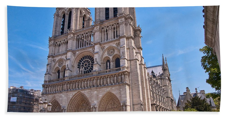 France Beach Towel featuring the photograph Notre Dame Cathedral Paris France by Jon Berghoff