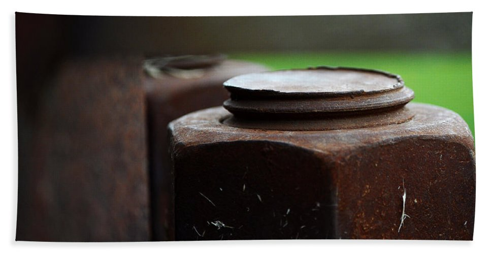 Industrial Beach Towel featuring the photograph Nuts And Bolts by Lisa Phillips