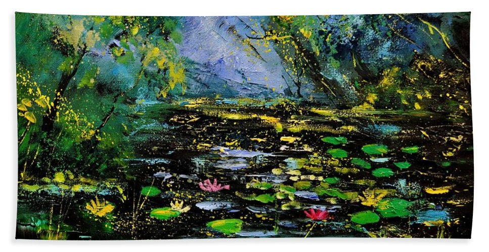 Landscape Beach Towel featuring the painting Nympheas 561170 by Pol Ledent
