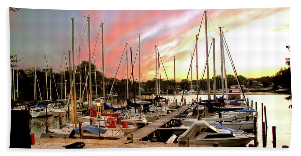 2d Beach Towel featuring the photograph Oak Pt Harbor At Sunset by Brian Wallace