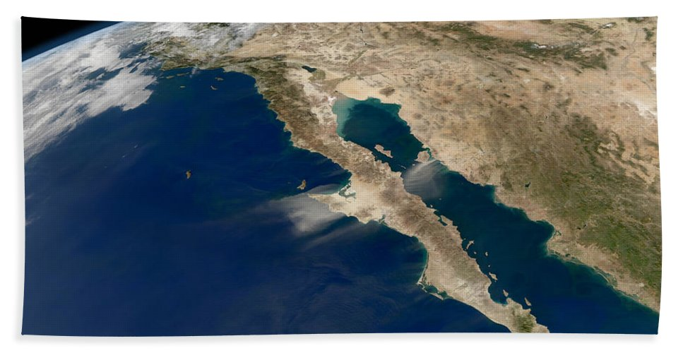 Baja California Beach Towel featuring the photograph Oblique View Of Baja California by Stocktrek Images