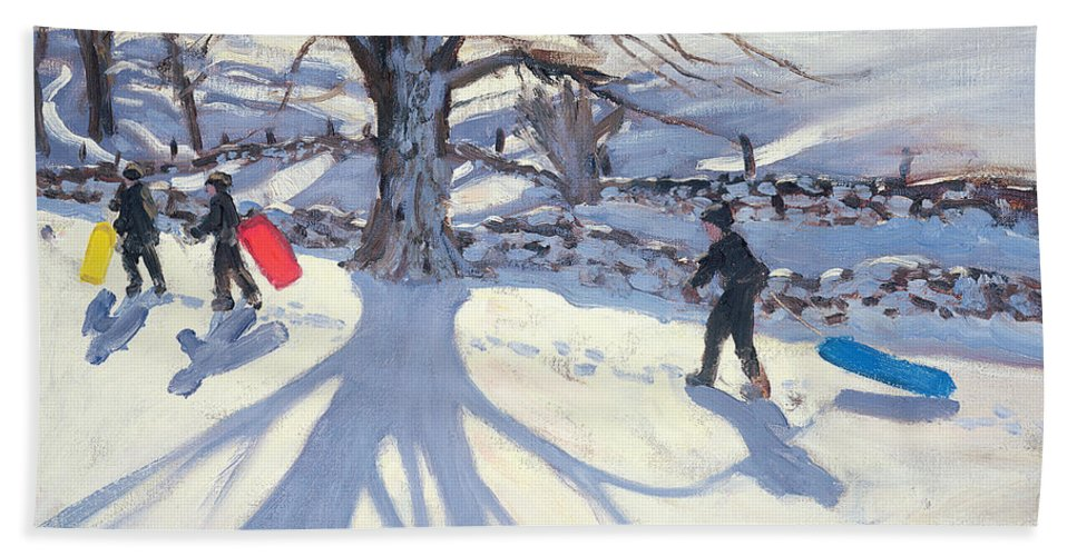 Toboggan Beach Towel featuring the painting obogganers near Youlegrave by Andrew Macara