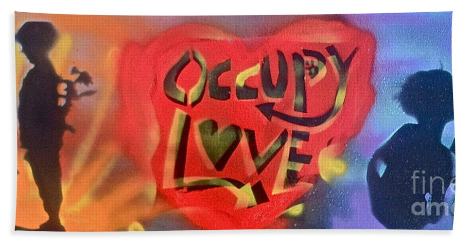 Love Paintings Beach Towel featuring the painting Occupy Crush Love by Tony B Conscious