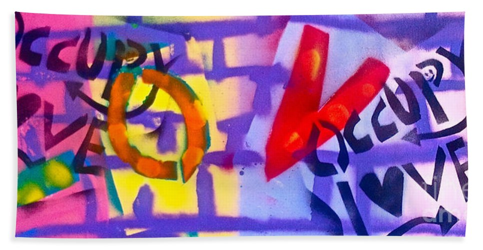 Love Paintings Beach Towel featuring the painting Occupy Graffiti Love by Tony B Conscious