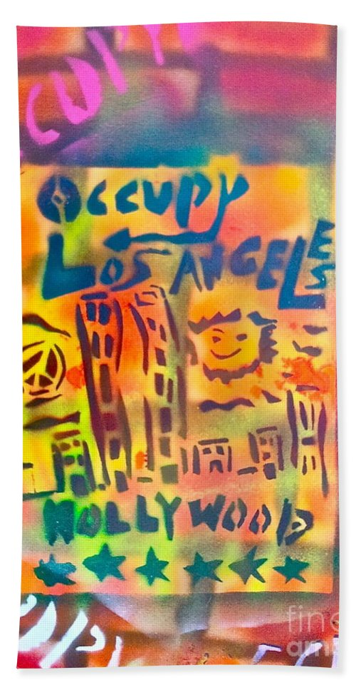 Occupy Beach Towel featuring the painting Occupy Hollywood by Tony B Conscious
