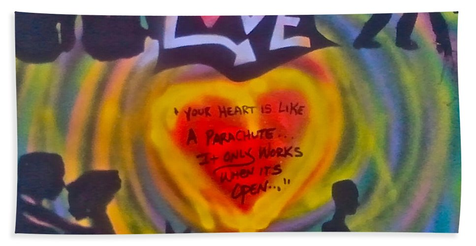Love Paintings Beach Towel featuring the painting Occupy The Heart by Tony B Conscious
