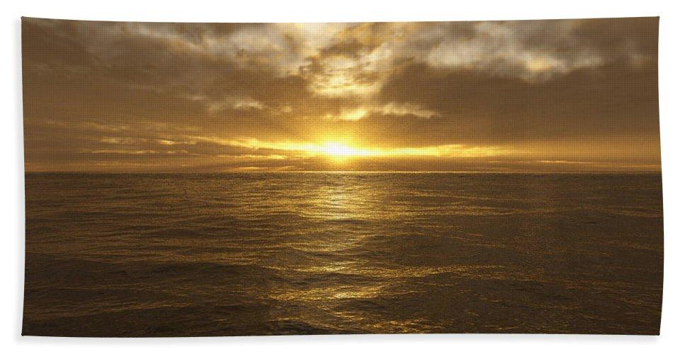 Seascape Beach Towel featuring the digital art Ocean Sunset by Mark Greenberg