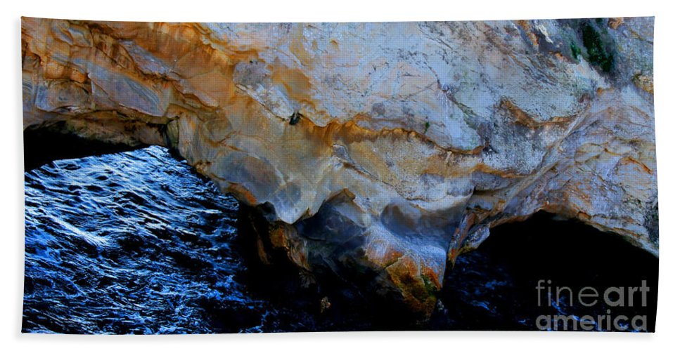 Nature Beach Towel featuring the photograph Shell Beach Ocean Tunnel by Tap On Photo