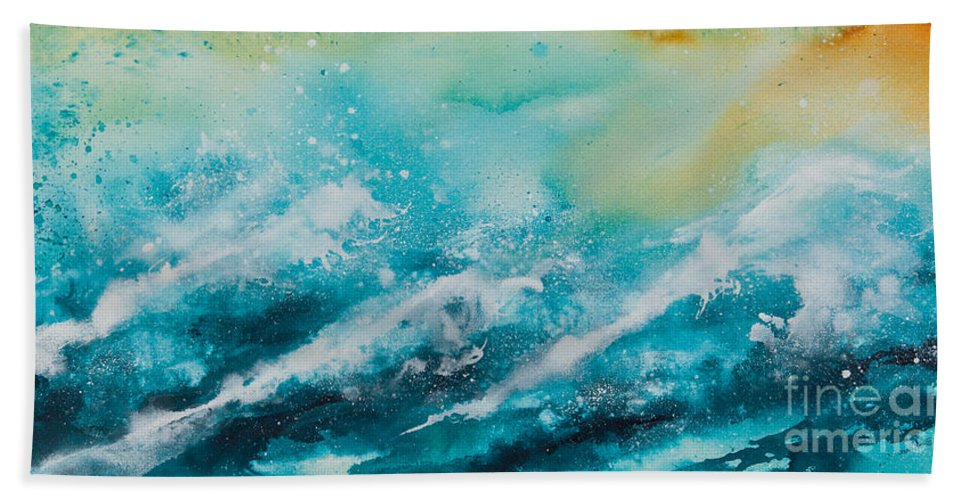 Ocean Beach Towel featuring the painting Ocean's Melody by Ilisa Millermoon