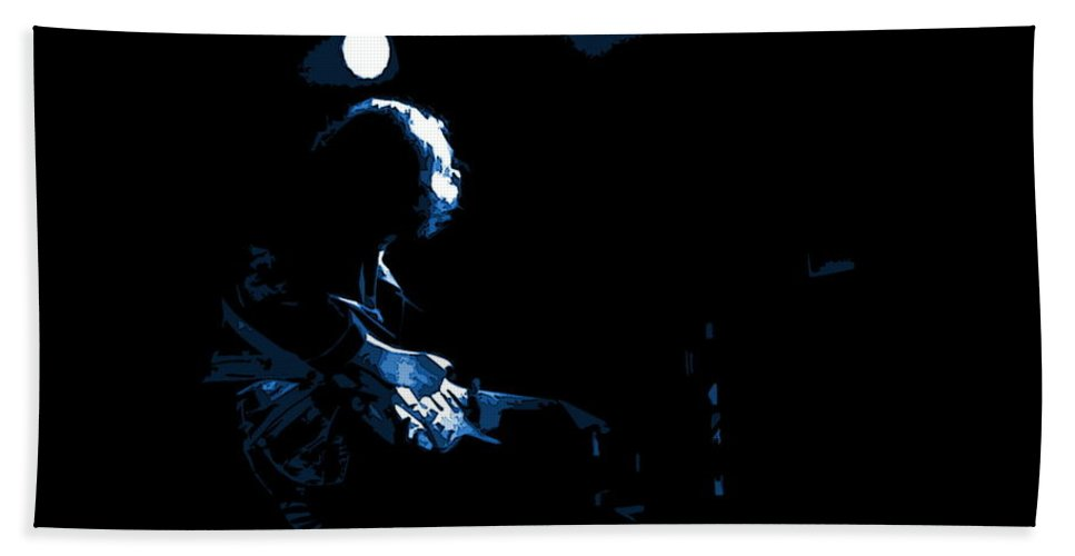 Rock Musicians Beach Towel featuring the photograph Off The Handle 2 Blue by Ben Upham
