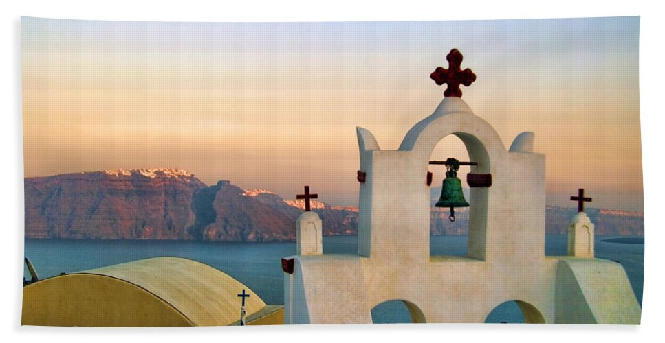 Blue Beach Towel featuring the photograph Oia In Santorini by David Smith