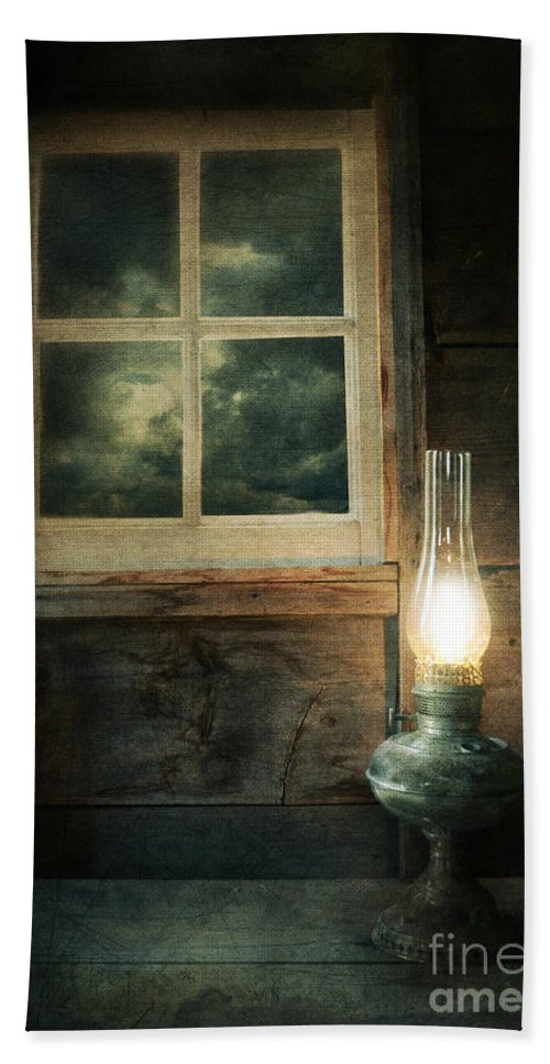 House Beach Towel featuring the photograph Oil Lamp On Table By Window by Jill Battaglia