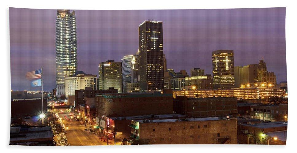 Oklahoma Beach Towel featuring the photograph Okc Evening II by Ricky Barnard