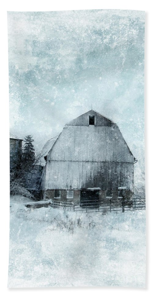 Barn Beach Towel featuring the photograph Old Barn In Winter Snow by Jill Battaglia