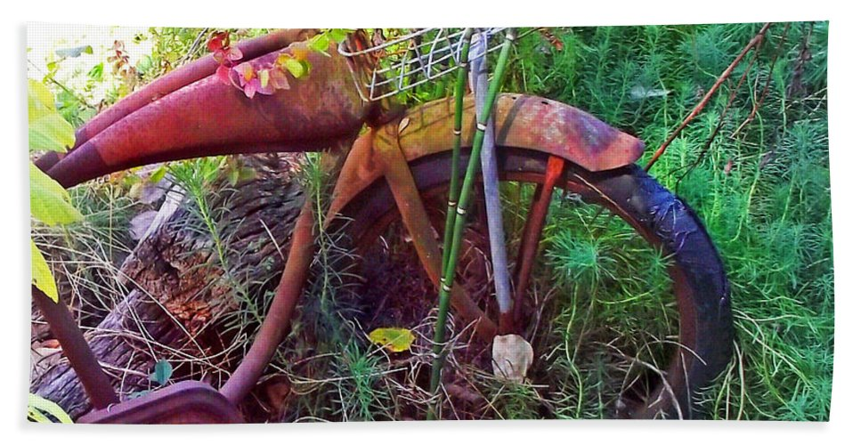 Old Bikes Beach Towel featuring the photograph Old Bike And Weeds by Duane McCullough