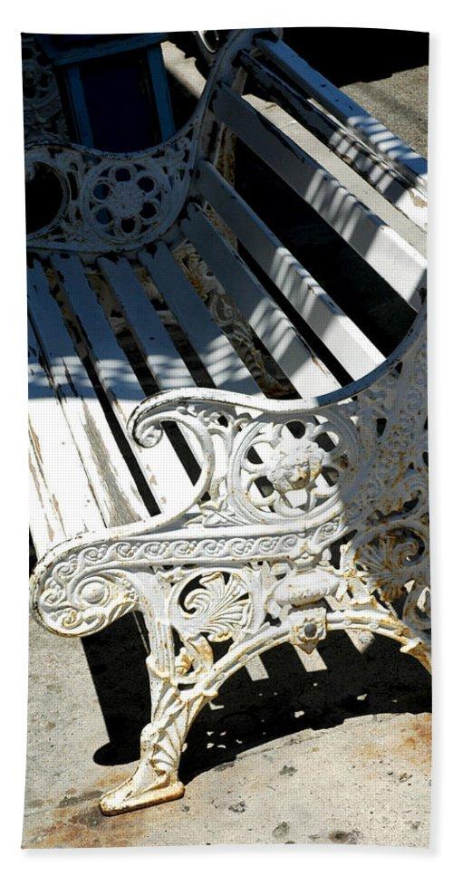 Usa Beach Towel featuring the photograph Old Cast Iron Bench Virginia City Nevada by LeeAnn McLaneGoetz McLaneGoetzStudioLLCcom
