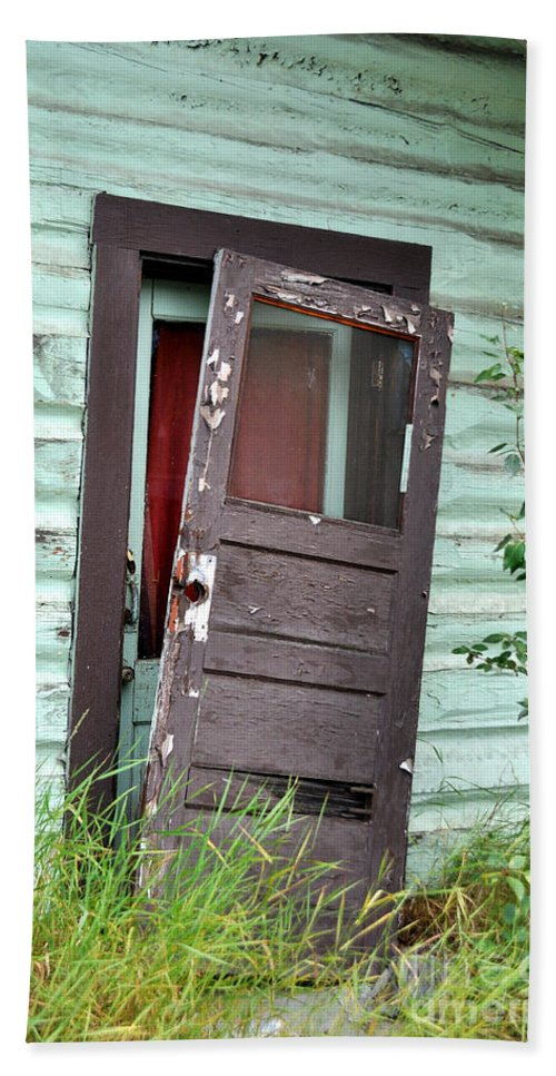 Old Beach Towel featuring the photograph Old Door On Rustic Alaska Cabin by Gary Whitton