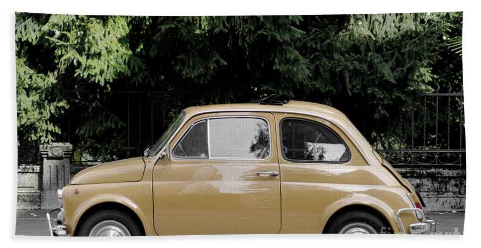 Car Beach Towel featuring the photograph Old Fiat by Mats Silvan