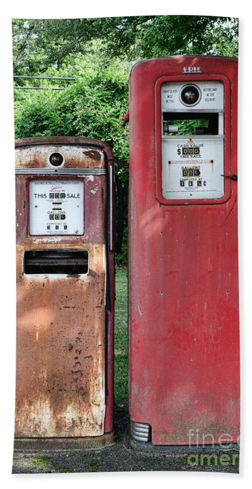 Gas Station Pumps Beach Towel featuring the photograph Old Gas Station Pumps by Paul Ward