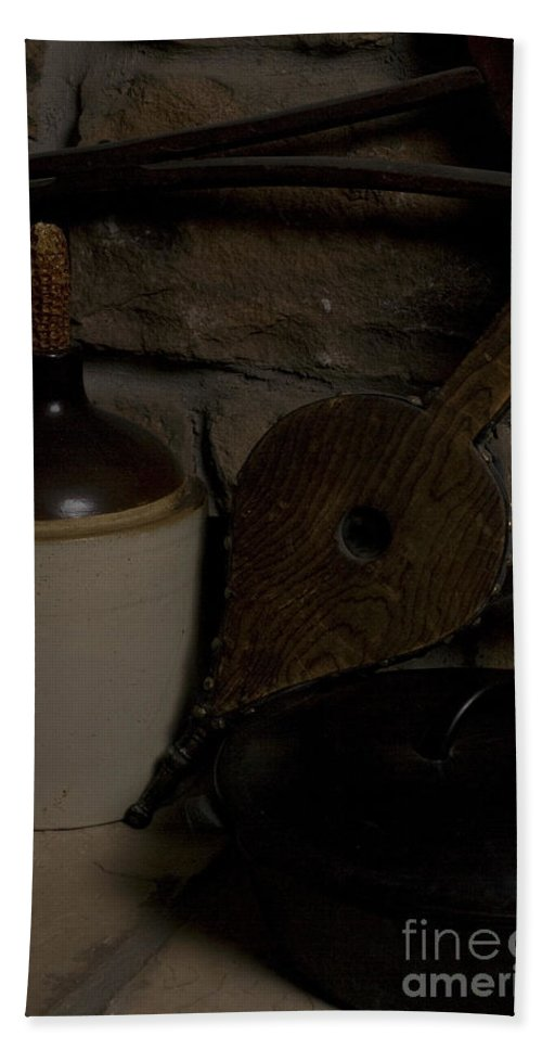 Antique Beach Towel featuring the photograph Old Items On A Stone Hearth 1 by Alan Look
