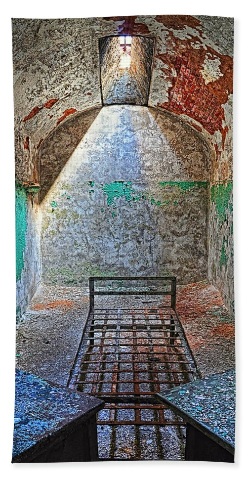 Prison Beach Towel featuring the photograph Old Prison Cell by Dave Mills