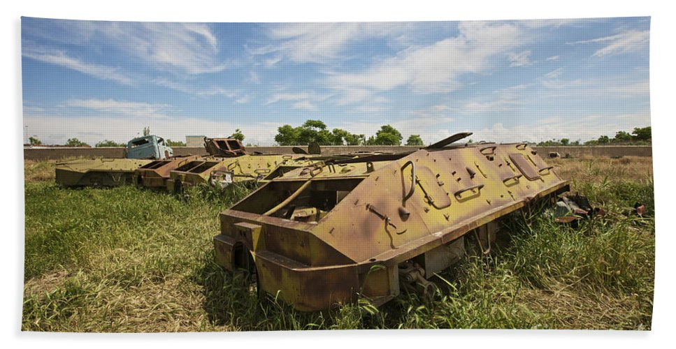 Armor Beach Towel featuring the photograph Old Russian Btr-60 Armored Personnel by Terry Moore