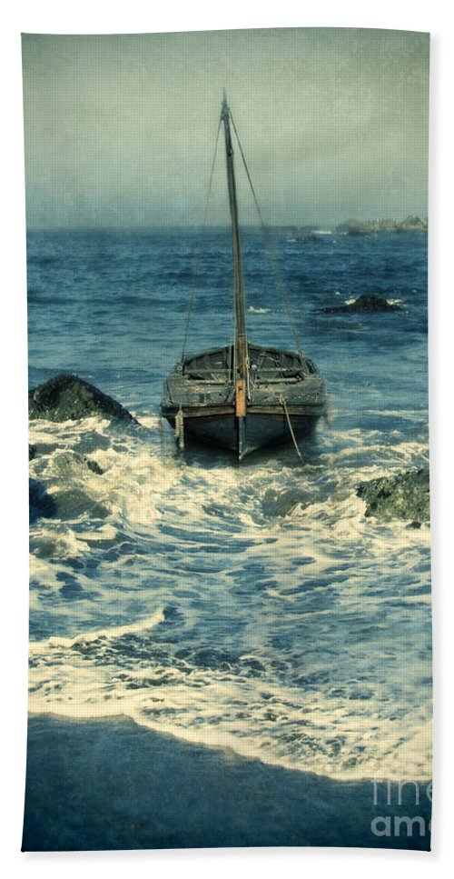 Coast Beach Towel featuring the photograph Old Sailing Vessel Near The Rocky Shore by Jill Battaglia