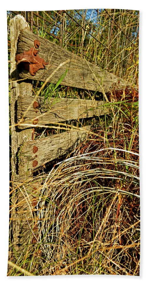Gate Beach Towel featuring the photograph Old Weathered Gate by Debbie Portwood