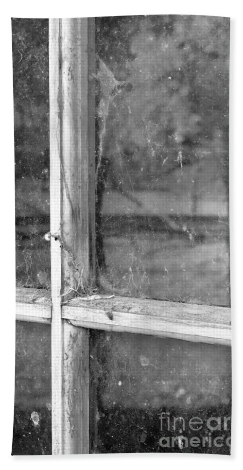 Black&white Beach Towel featuring the photograph Old Window Reflection by Sandra Bronstein