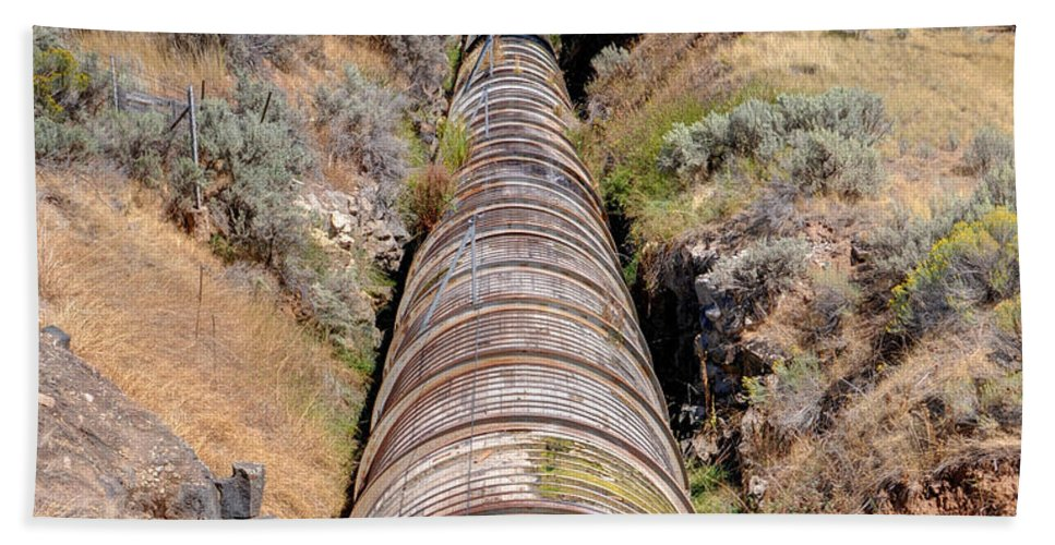 Idaho Beach Towel featuring the photograph Old Wooden Water Pipeline - Rural Idaho by Gary Whitton